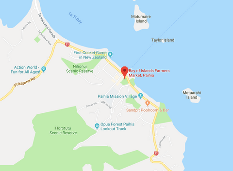 Map from Google Maps showing the location of the Thursday Bay of Islands Farmers' Market