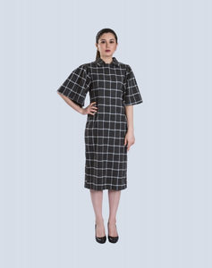 Dress Puff Sleeves In Grid