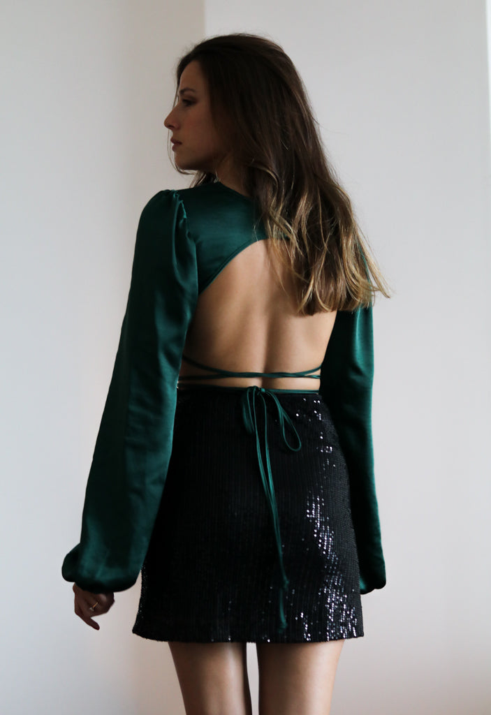 Irisia Satin Forest Green Top