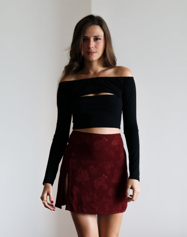 Lea Black Crop Top