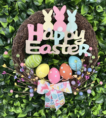 Happy Easter Colourful Wreath