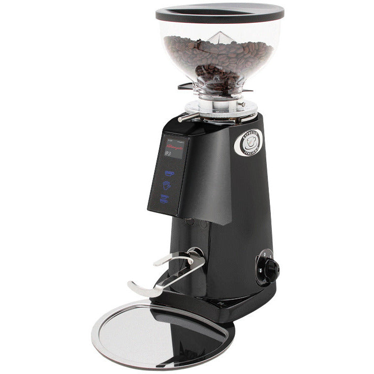 black electronic coffee grinder