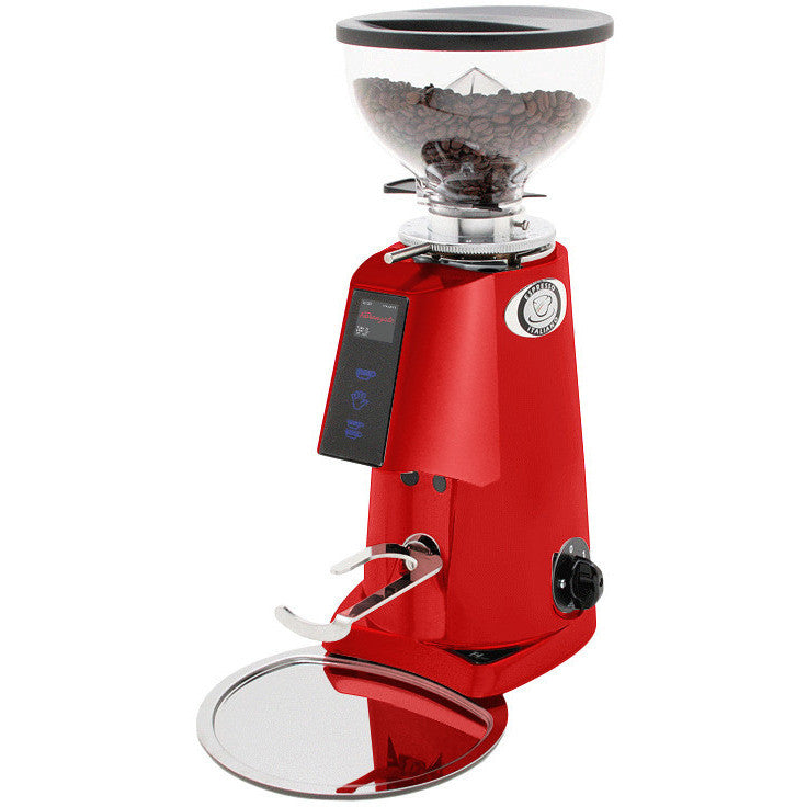 automatic coffee grinder in red