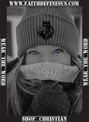 You can't be cold with a Lion of Judah beanie, girl wearing a Lion of Judah beanie to keep warm.