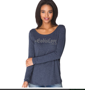 #GodisLove-Women's Long-Sleeve - FDU - Faith Defines Us