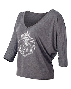 Lion of Judah - Women's Flowy Half-Sleeve V-Neck - FDU - Faith Defines Us
