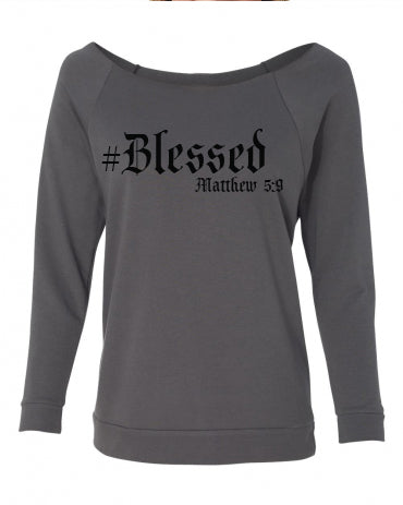 #Blessed- Ladies' French Terry 3/4-Sleeve Raglan - FDU - Faith Defines Us
