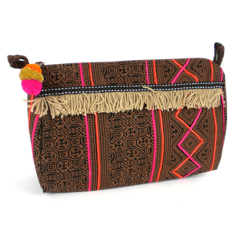 brown Batik Pattern Cosmetic clutch Handbag to gift your girl on this christmas and on new year eve