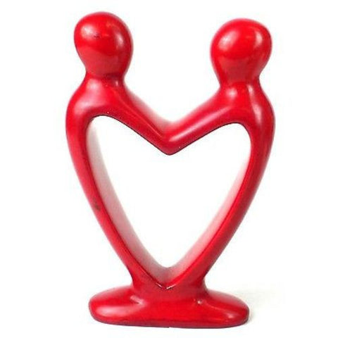 Handcrafted Soapstone Lover's Heart Sculpture in Red Handmade