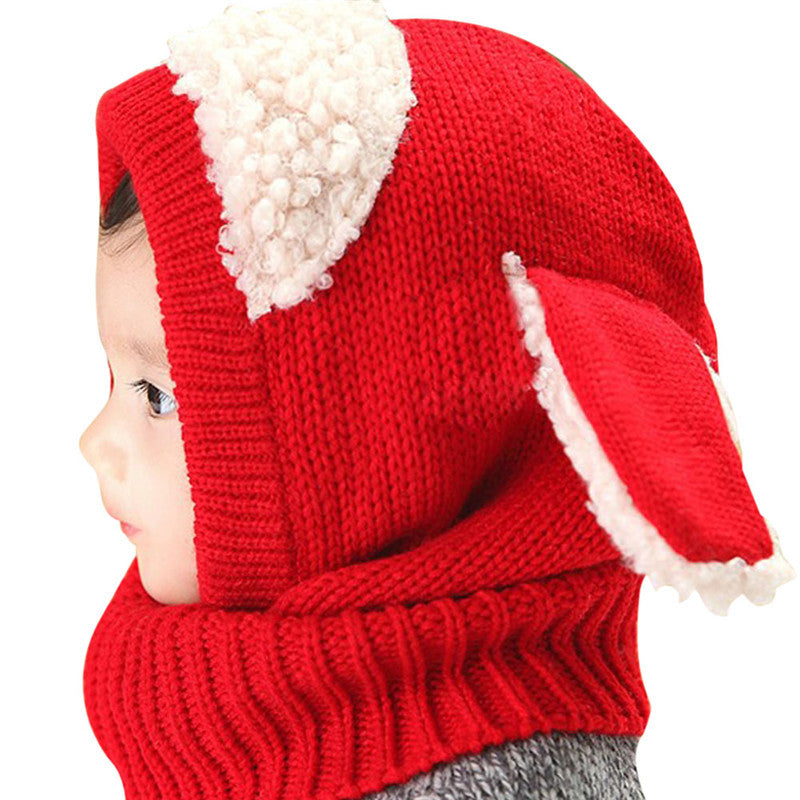 Baby Hat With Scarf Toddler Winter Beanie Warm Hat Hooded Scarf Earflap Knitted Cap Cute Cartoon