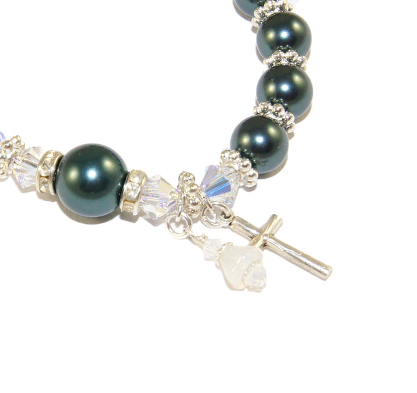 Swarovski pearl rosary bracelet, you choose color