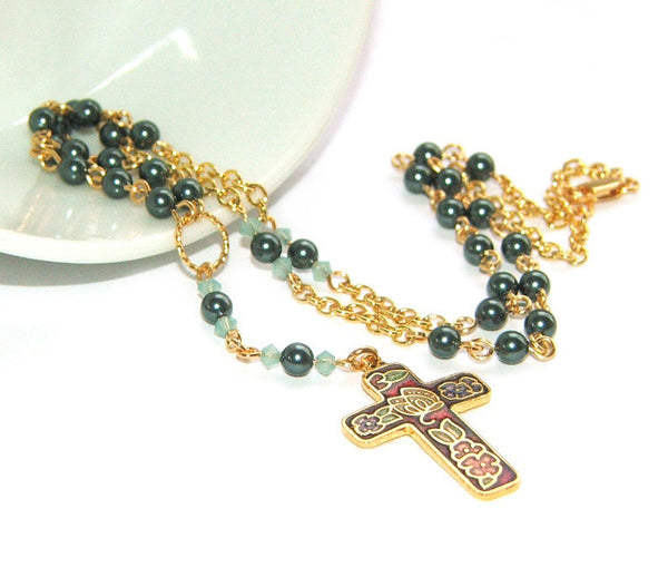 Swarovski pearl rosary necklace