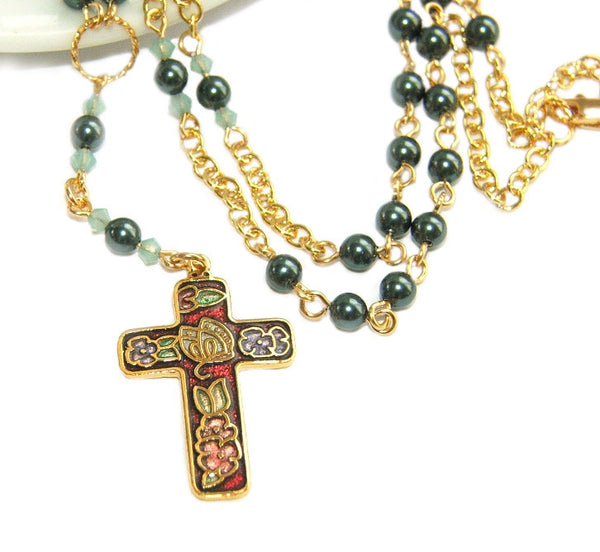 Christian necklace, rosary style, Swarovski pearls