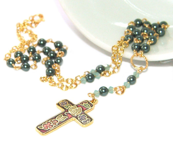 Anglican rosary necklace