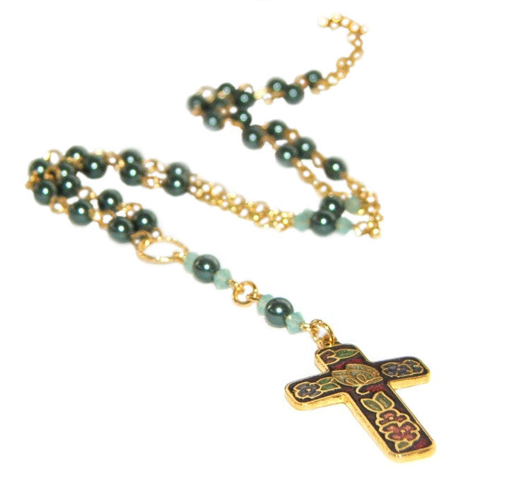 Anglican necklace, rosary style with blue pearls