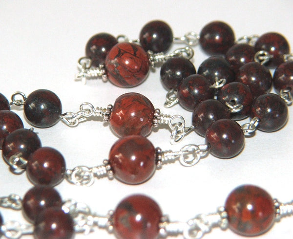 Jasper rosary beads, made in NZ