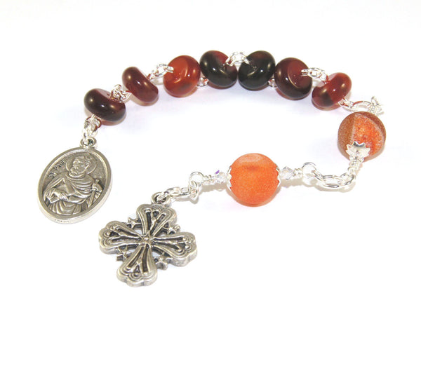 Agate prayer beads, St Paul devotion chaplet