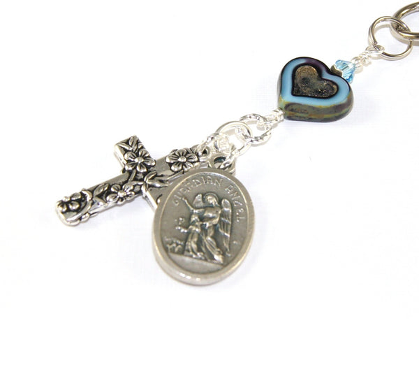 Christian medal bag charm
