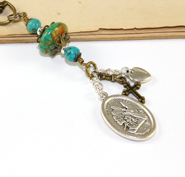 St Michael & Guardian Angel Medal Clip - Keychain, Bag Dangle, Car Accessory