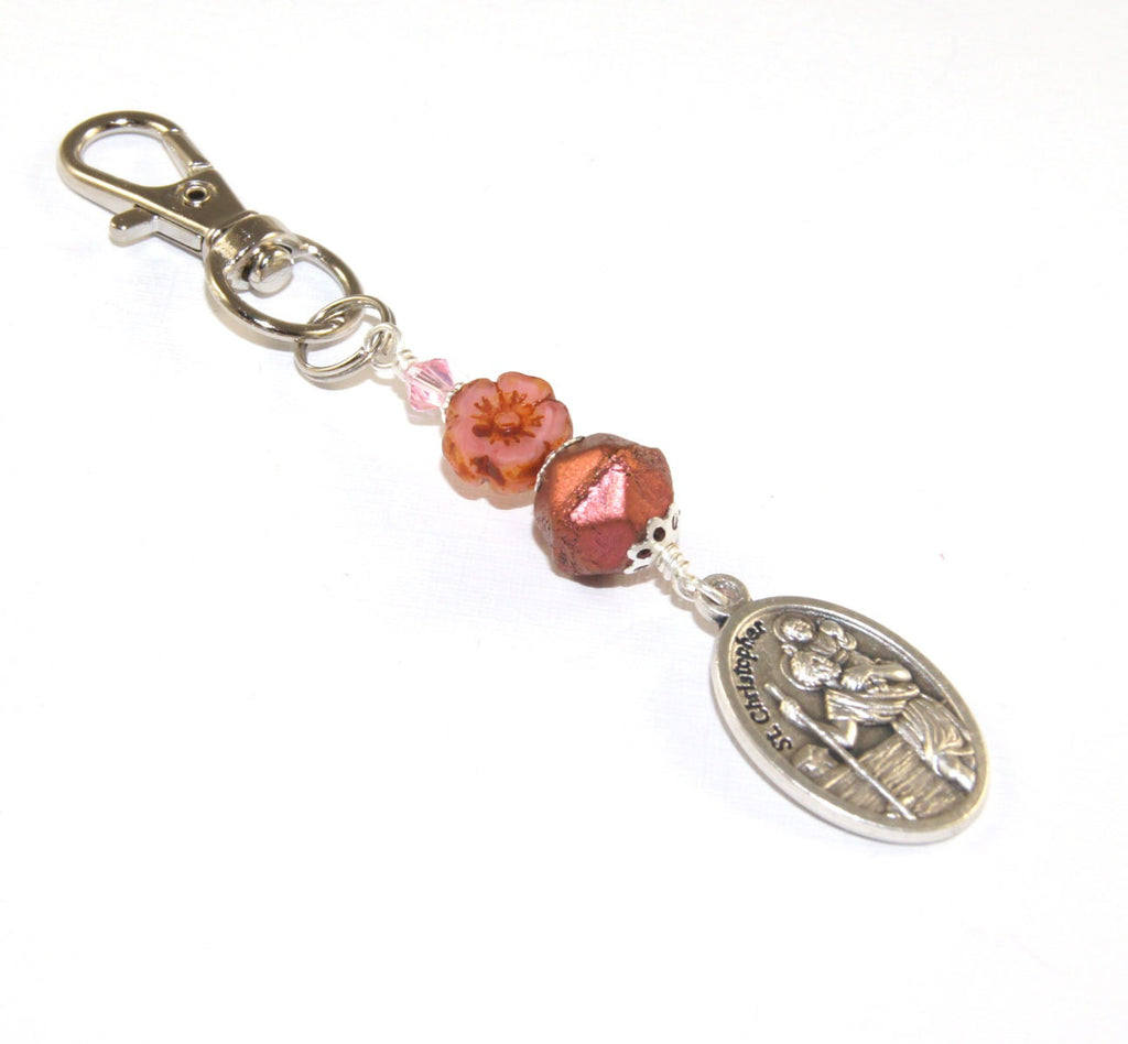 Key Chain or Bag Charm, St Christopher Medal - Farewell Gift