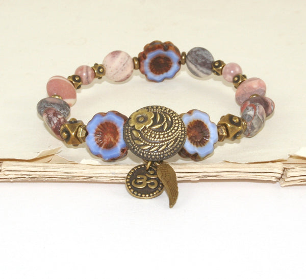 Om Bracelet, Gemstone & Glass Beads, Yoga Jewelry