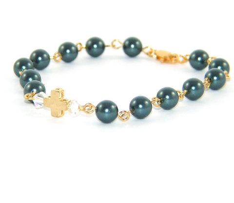 Girl's Christian faith bracelet, blue pearls