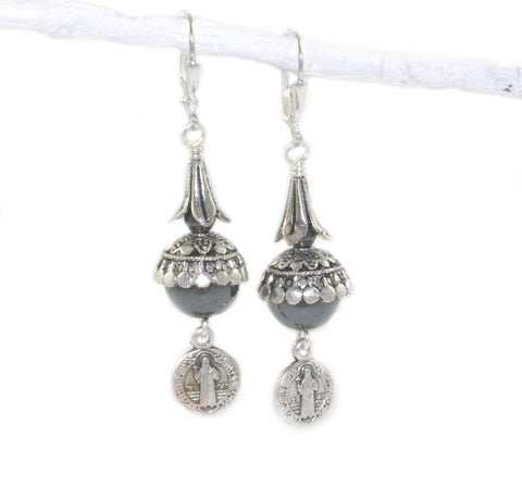 Saint Benedict earrings, handmade in New Zealand