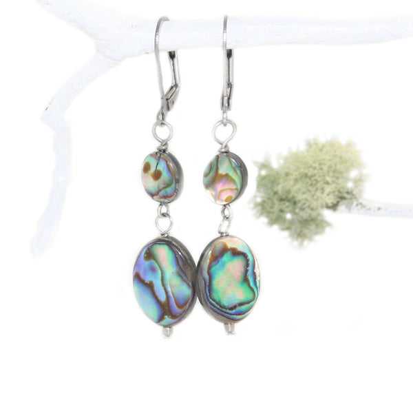 Paua Abalone shell earrings, made in New Zealand