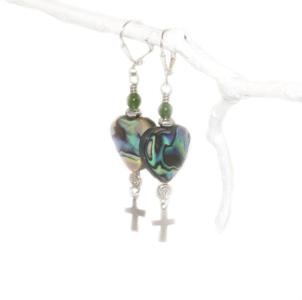 Greenstone and paua drop earrings, stainless steel hooks