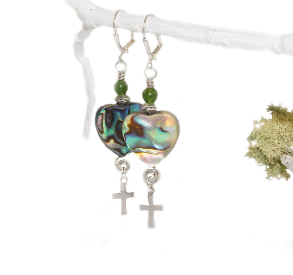 Paua heart earrings, silver crosses
