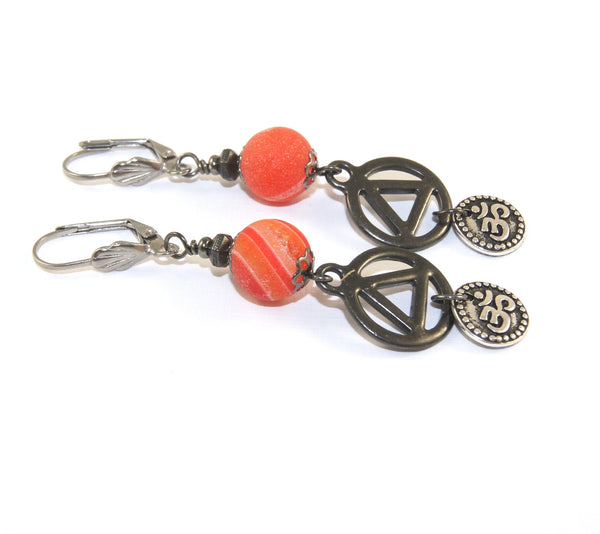 Orange quartz druzy earrings, black unity charm