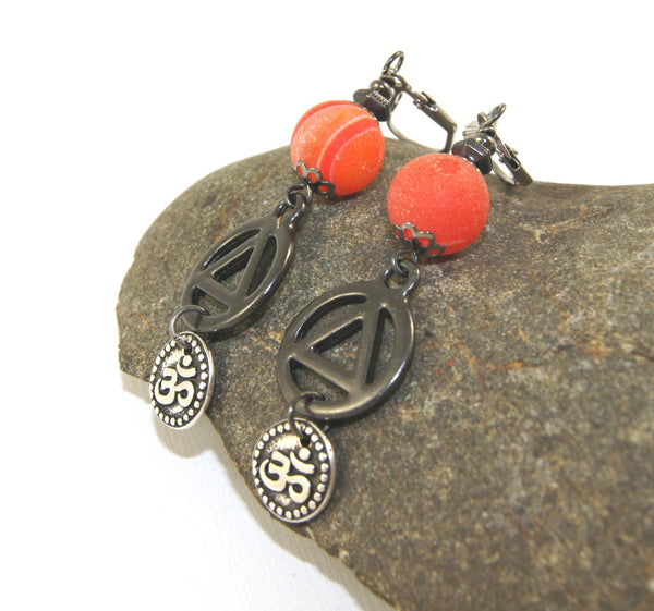 Unity & Om Earrings, Orange & Black Recovery Jewelry