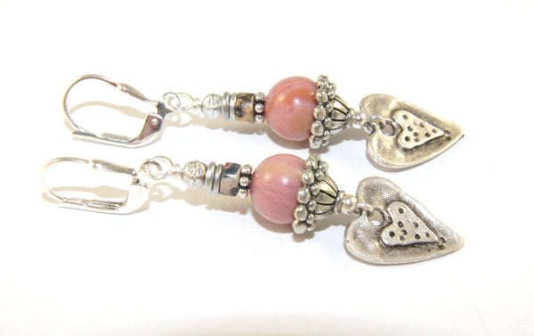 Gemstone dangle earrings, pink rhodonite and hearts