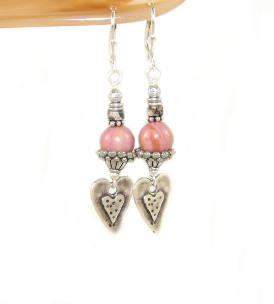 Pink rhodonote heart charm earrings