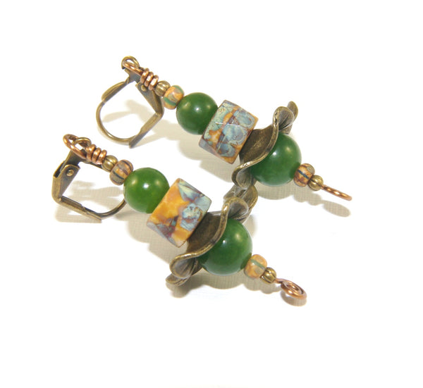 Woman's greenstone jade earrings, handcrafted in NZ