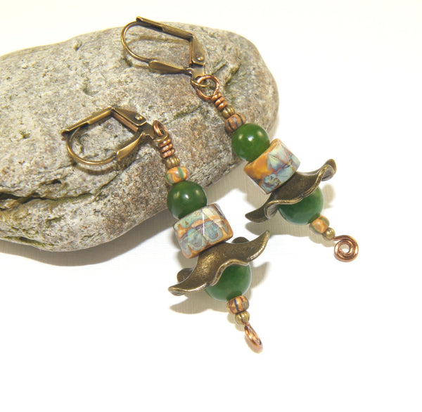 New Zealand greenstone earrings, handmade