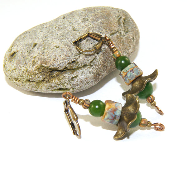 Greenstone Flower Earrings - Rustic Appeal