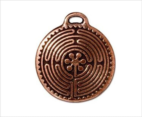 Labyrinth pendant medal, antiqued copper, 2.6cm