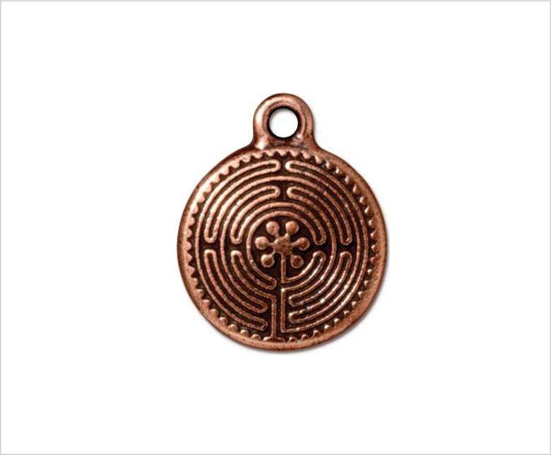 Labyrinth medal pendant, copper, small 2cm