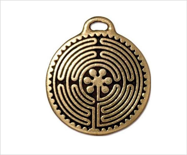 Labyrinth Pendant, Antiqued Gold Pewter, 2.6cm