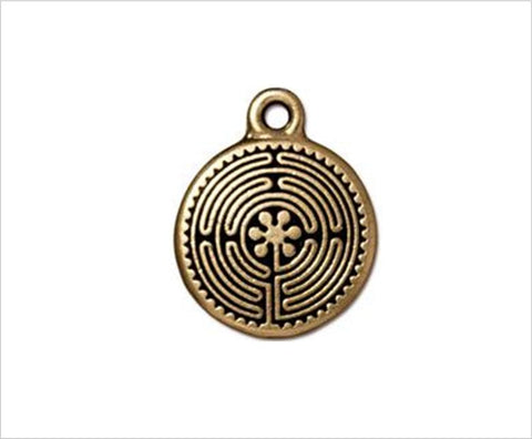 Labyrinth char, antiqued gold, 2cm
