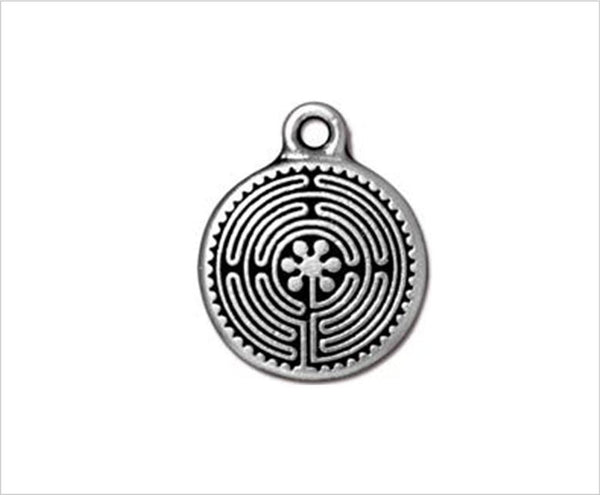Labyrinth charm pendant, small, 2cm tall