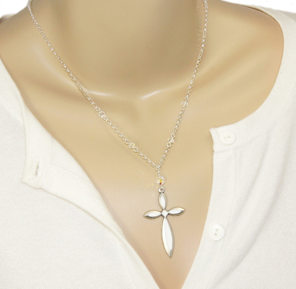 White cross and Swarovski crystal pendant necklace