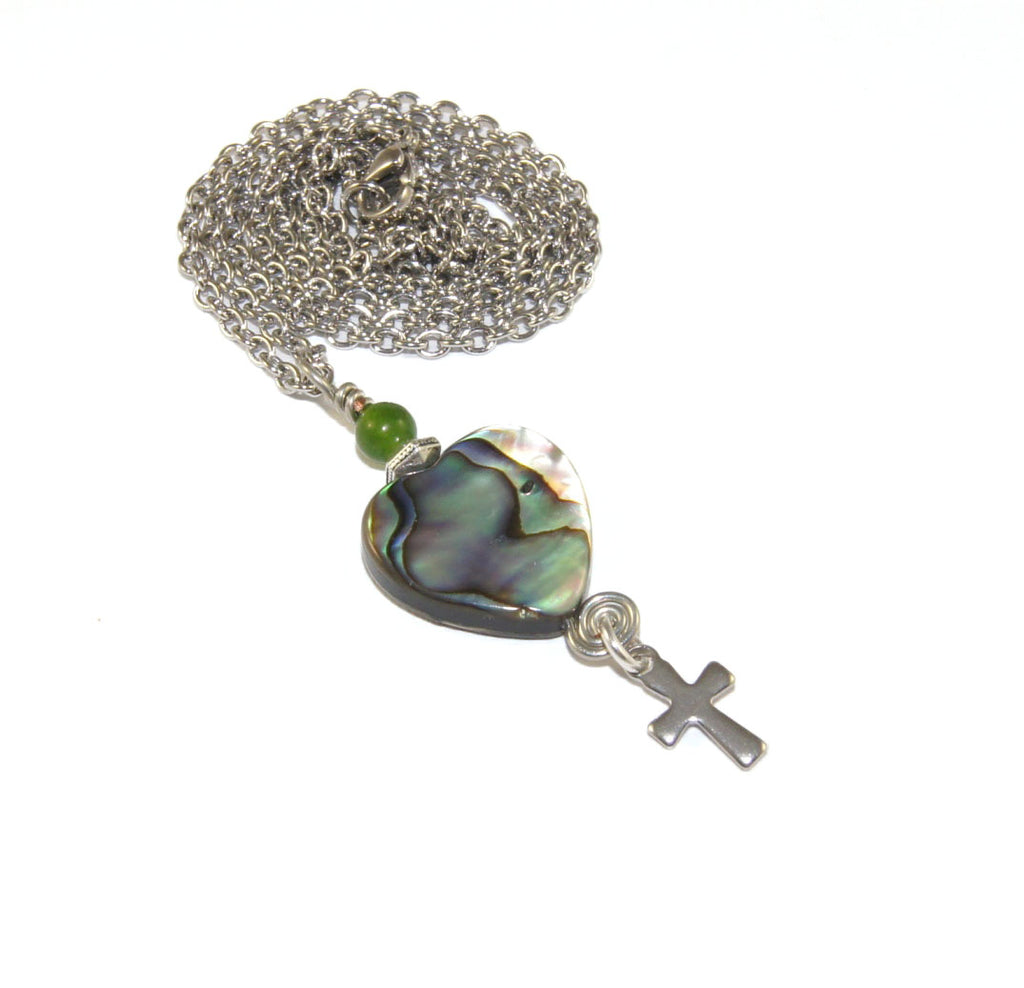 New Zealand paua shell pendant necklace