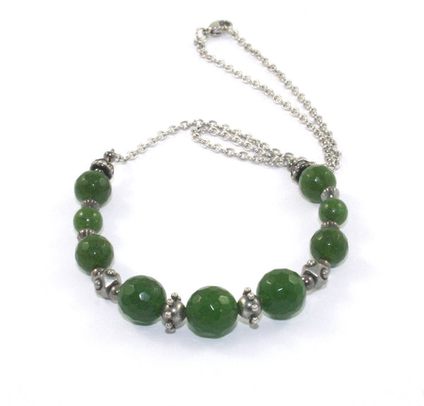 greenstone necklace, stainless steel chain