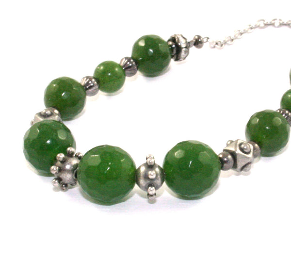Nephrite jade beaded necklace, made in New Zealand