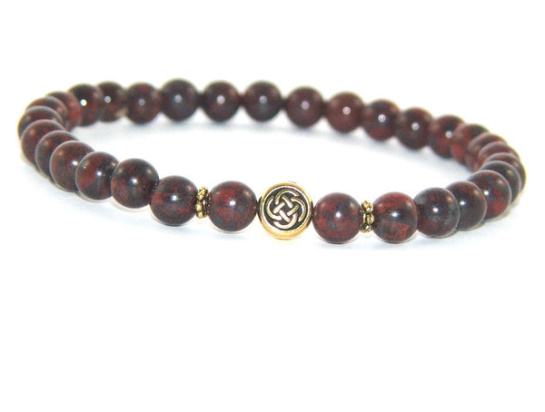 Minimalist Stretch Jasper Bracelet, Celtic Bead