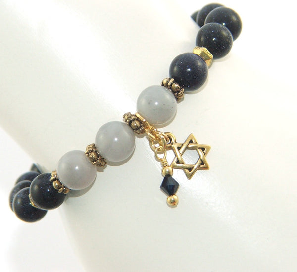 Stretch gemstone bracelet, Star of David charm