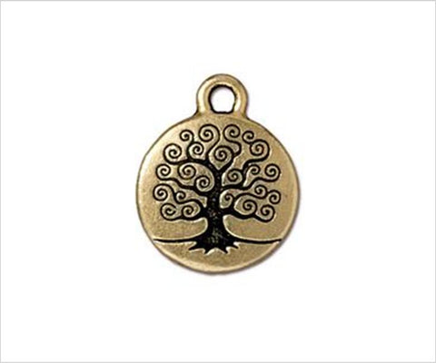 Tre of Life charm for bracelet, gold pewter Tierracast