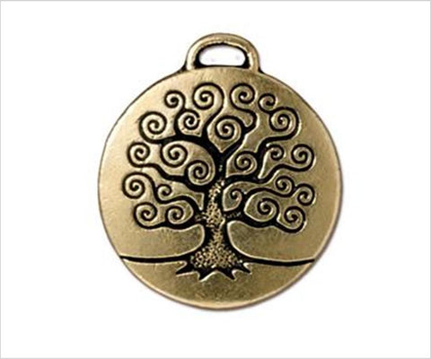 Tree of Life pendant gold pewter, New Zealand shop